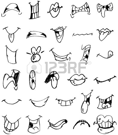 393x450 Outlined Cartoon Mouth Set Royalty Free Cliparts, Vectors,