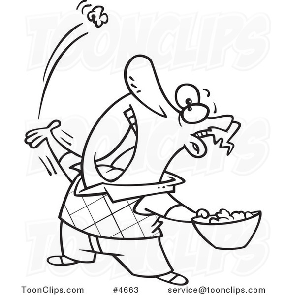 581x600 Cartoon Black And White Line Drawing Of A Guy Skillfully Tossing