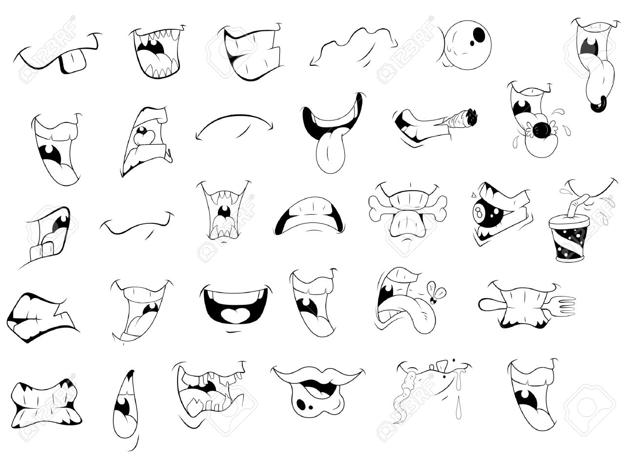 1300x939 Cartoon Mouth Drawing Cartoon Mouth Expressions Royalty Free