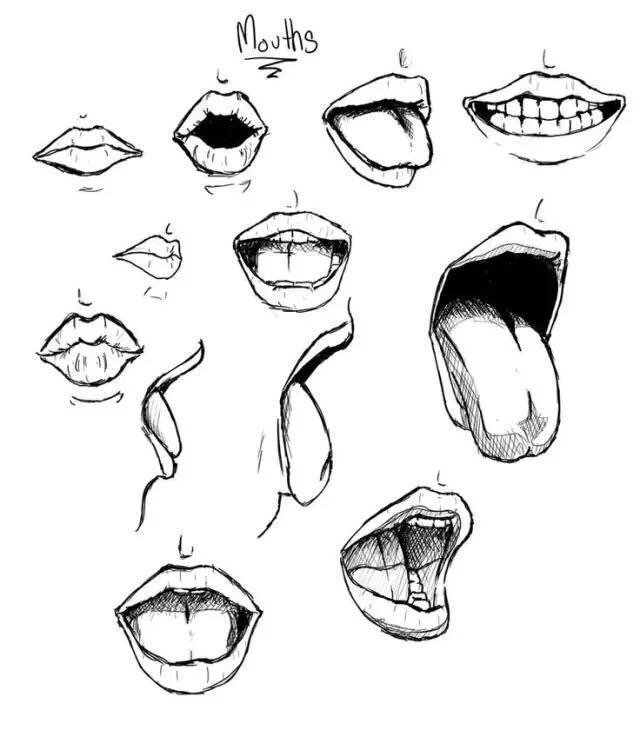 640x730 Lips And Mouth Art Draw, Drawing Reference And Anatomy