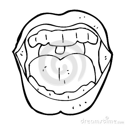 400x400 Open Mouth Black And White Clipart