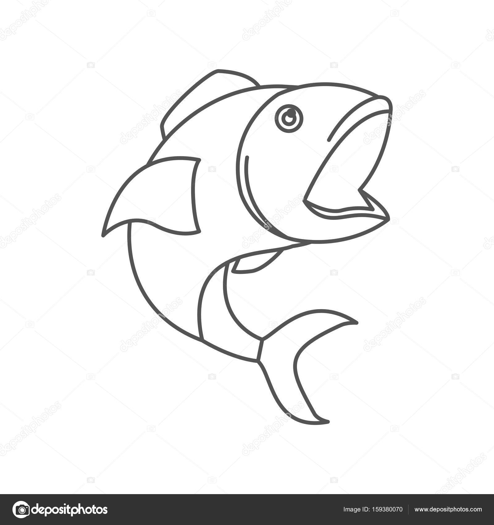 1600x1700 Sketch Silhouette Of Open Mouth Fish Stock Vector Grgroupstock
