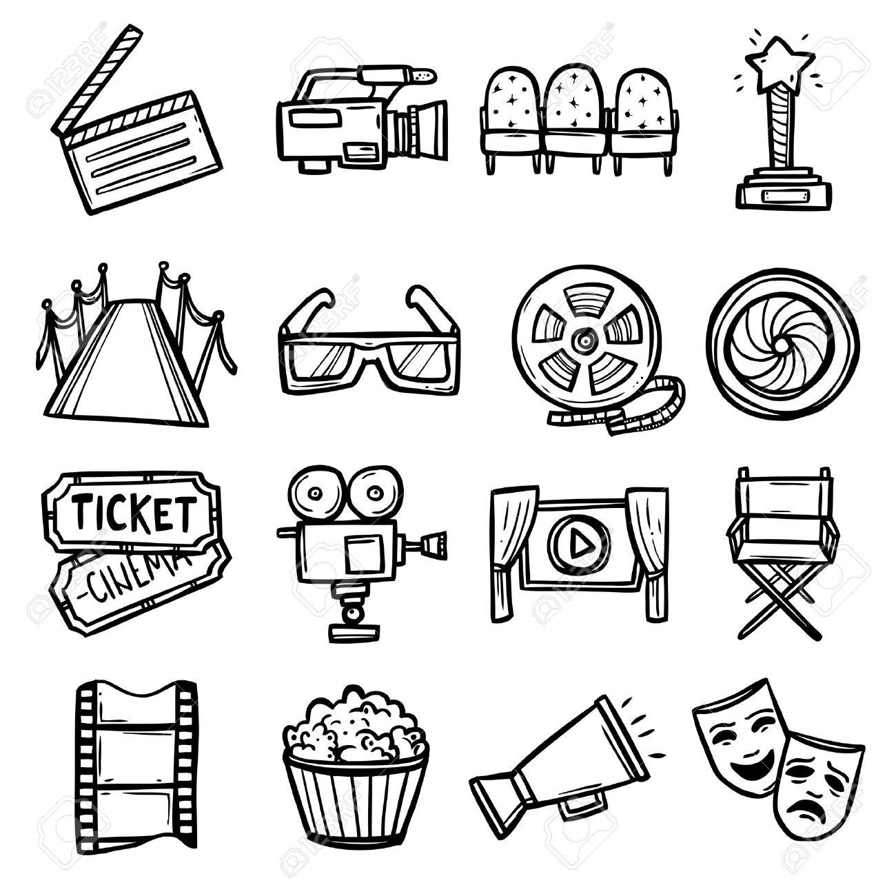1300x1300 Cinema And Entertainment Arts Hand Drawn Decorative Icons Set