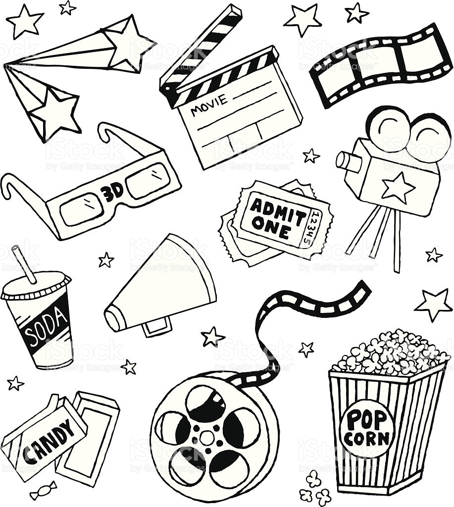 917x1024 A Movie Themed Doodle Page. Vector Art, Doodles And Royalty