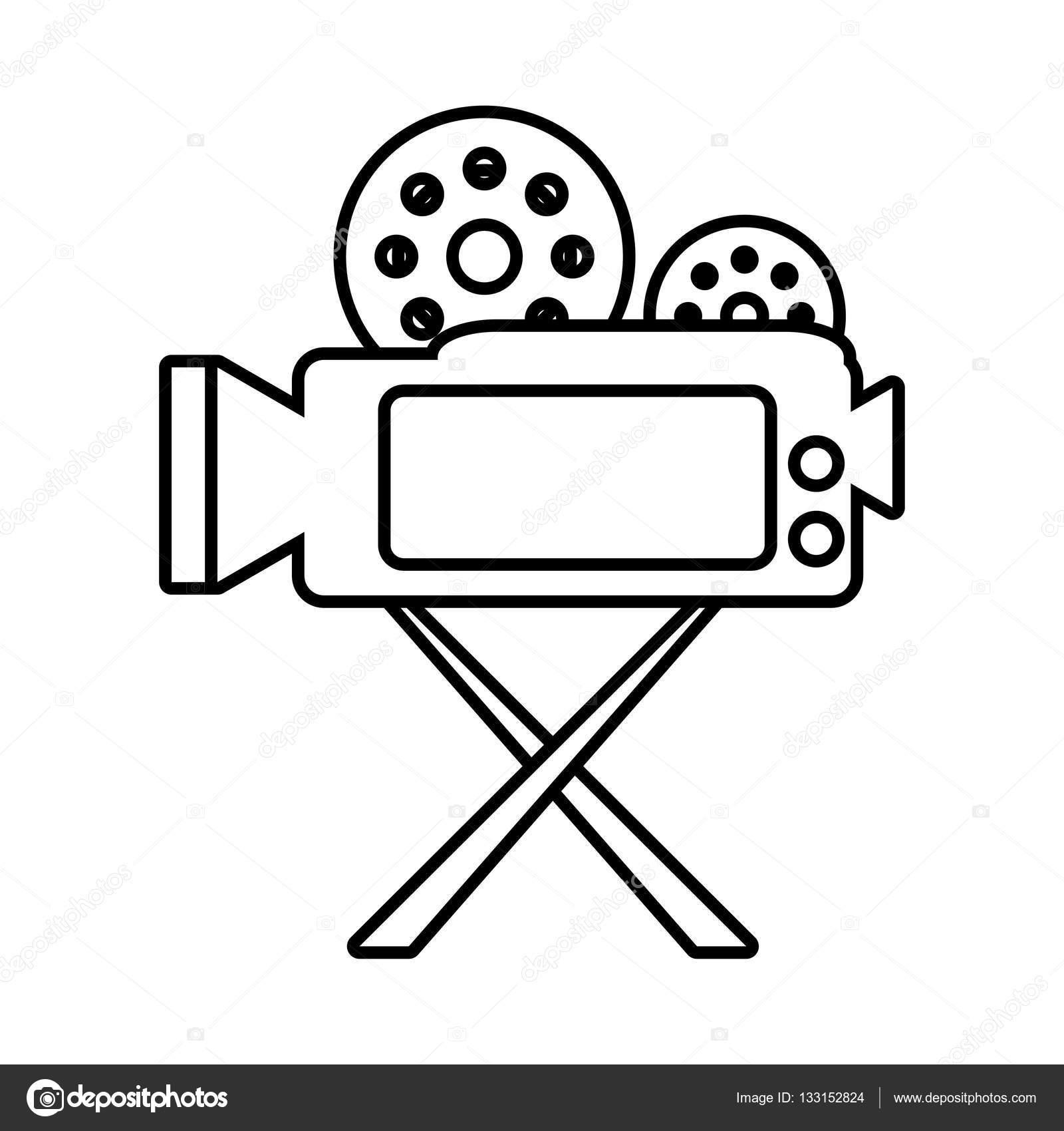 1600x1700 Camera Film Record Movie Tripod Outline Stock Vector Djv