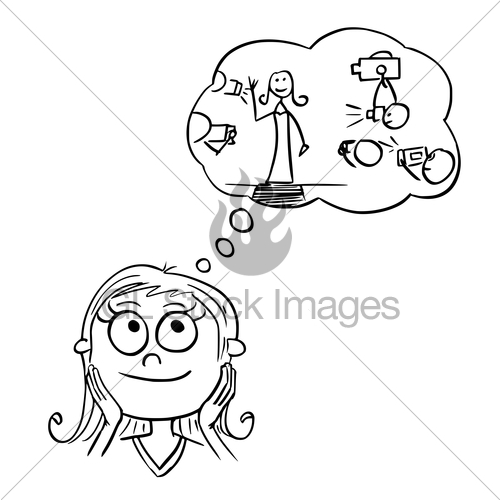 500x500 Cartoon Illustration Of Girl Dreaming About Live Of Movie Gl