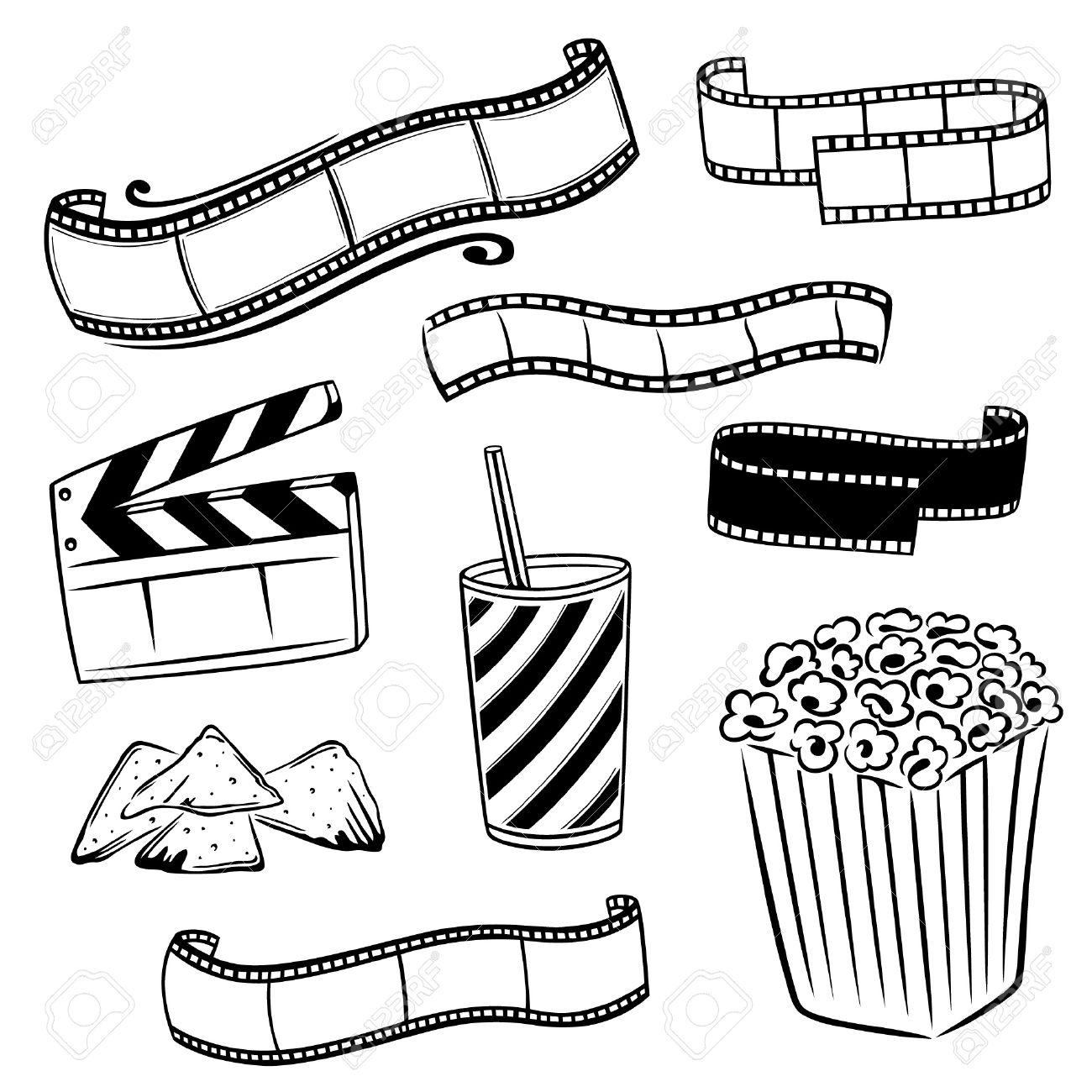 1300x1300 Cinema, Movie, Tv, Film Vector Set Royalty Free Cliparts, Vectors