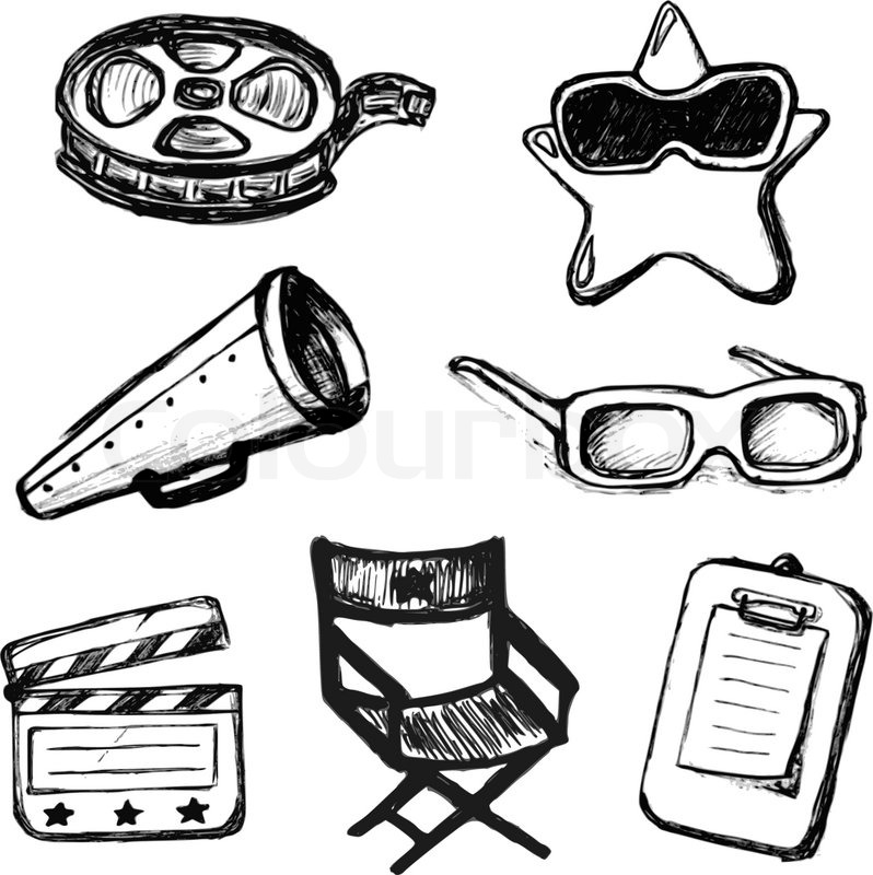 798x800 Cinema Doodles. Vector Icons Stock Vector Colourbox