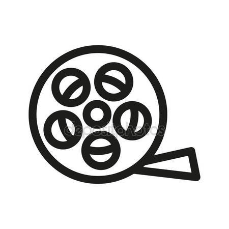 450x450 Film Reel Linear Icon. Filming Item Thin Line Illustration. Vector