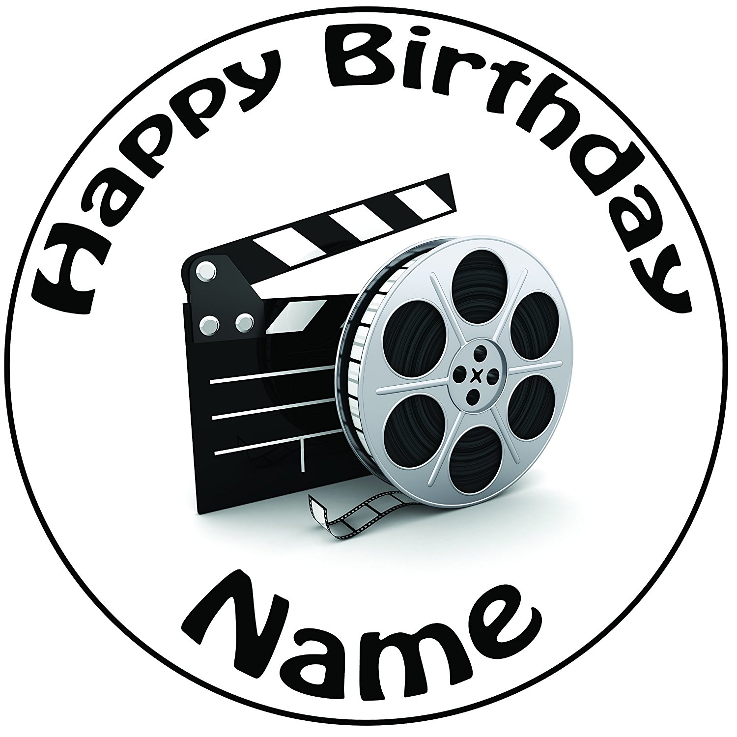 1500x1500 Personalised Movie Film Reel And Clapper Board Cake Topper
