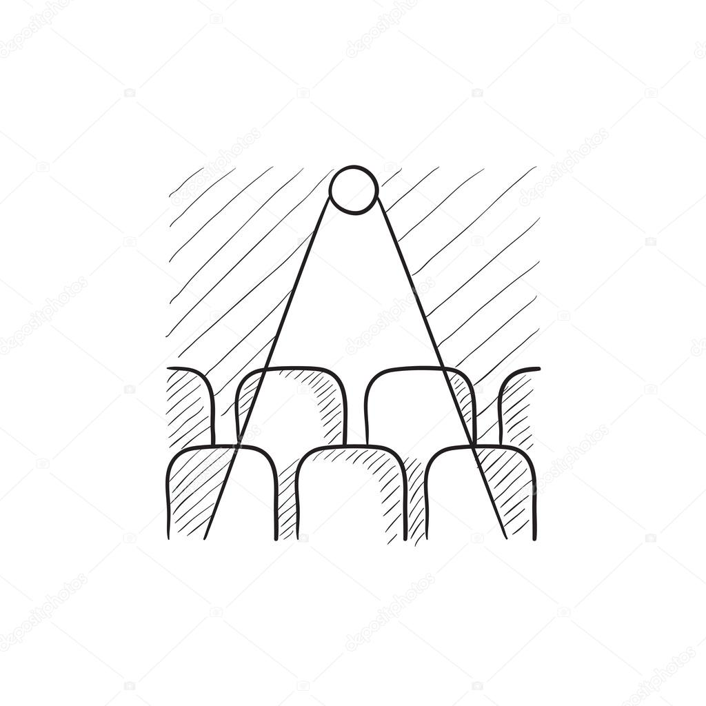 1024x1024 Movie Theater With Seats, Projector Sketch Icon. Stock Vector