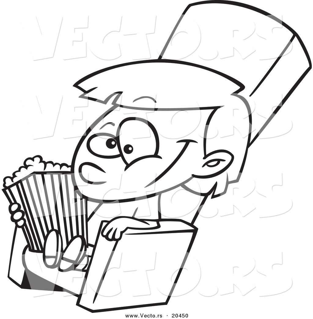 1024x1044 Vector Of A Cartoon Girl With Movie Popcorn