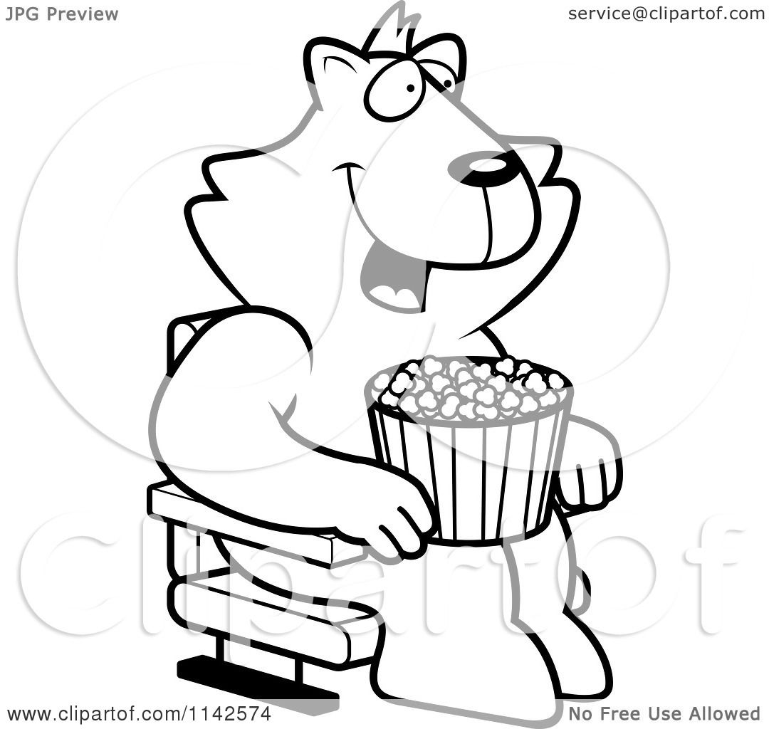 1080x1024 Cartoon Clipart Of A Black And White Happy Cat With Popcorn