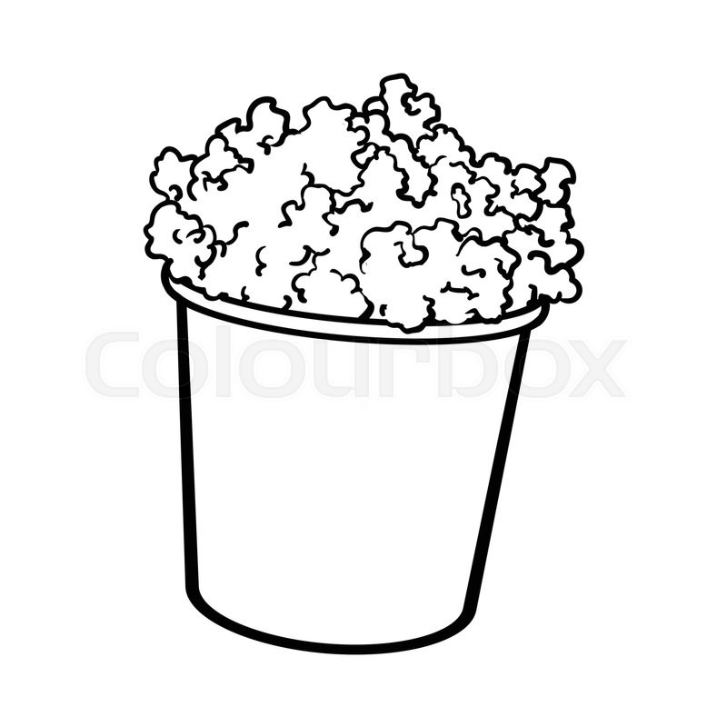 800x800 Cinema Popcorn In A Big Striped Bucket, Sketch Style Black