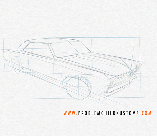 600x521 Drawing A Chevelle On Behance