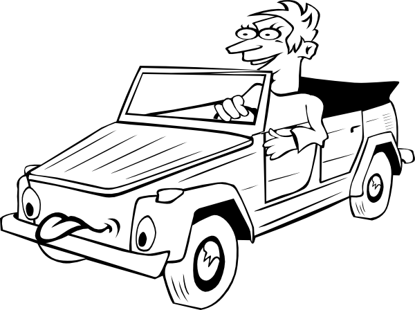 600x448 Boy Driving Car Cartoon Outline Clip Art