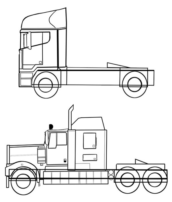 600x702 How To Draw Vehicles Trucks Amp Hgvs
