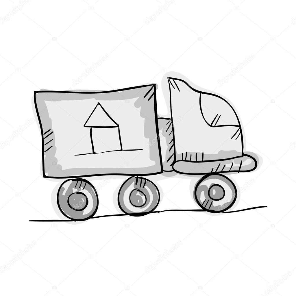 1024x1024 Moving Truck Draw Design Stock Vector Yupiramos