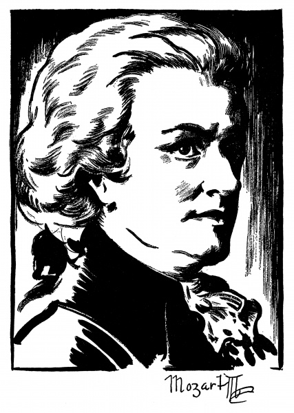 427x600 Wolfgang Amadeus Mozart (1756 1791). Austrian Composer. Drawing By