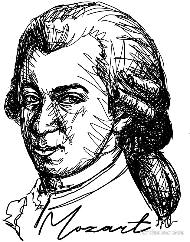 628x800 Wolfgang Amadeus Mozart Stickers By Fortissimotees Redbubble