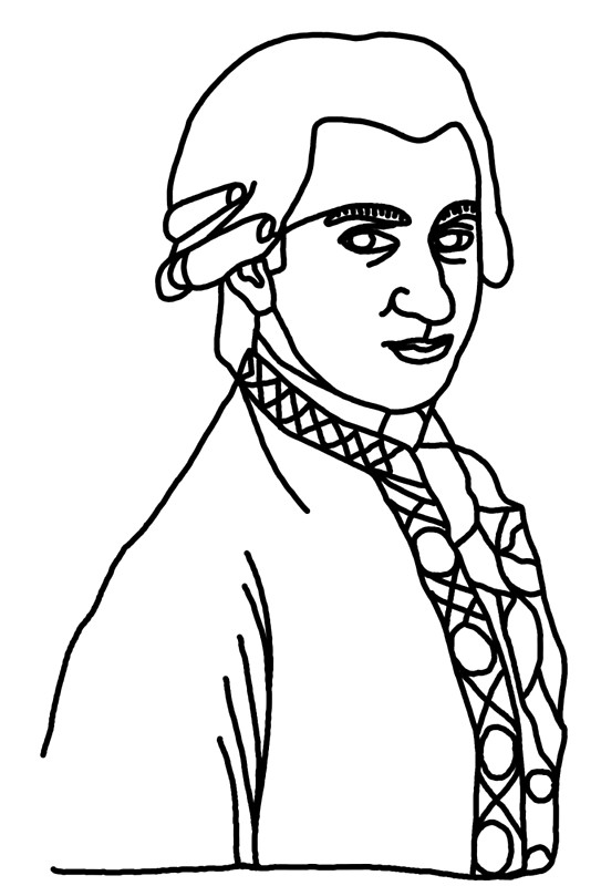 543x800 Wolfgang Amadeus Mozart One Line Art Prints By Onelinedesign