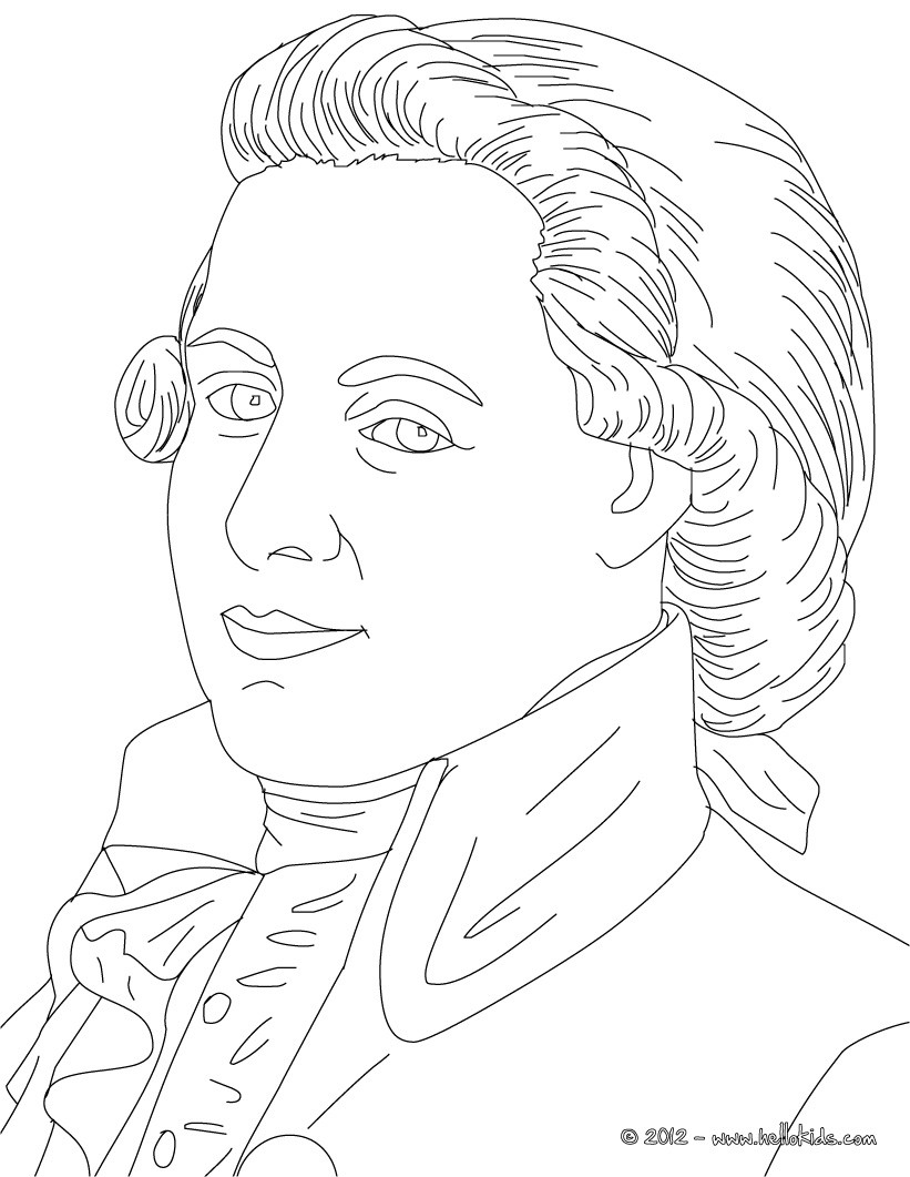 821x1061 Wolfgang Amadeus Mozart Famous Austrian Composer Coloring Pages