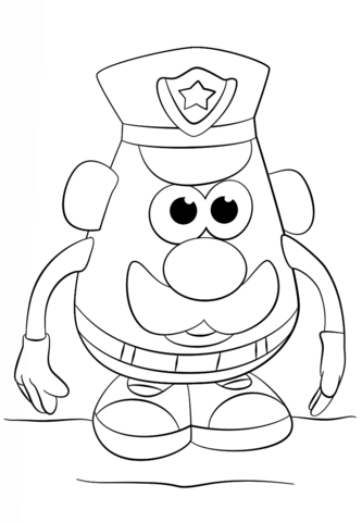 333x480 Mr. Potato Head Police Officer Coloring Page Free Printable