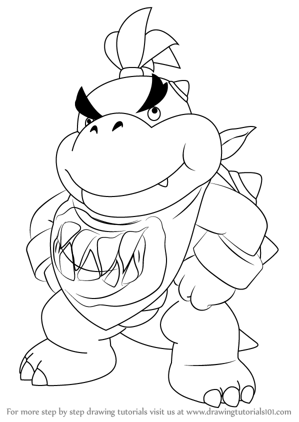 598x844 Learn How To Draw Bowser Jr. Standing From Super Mario (Super