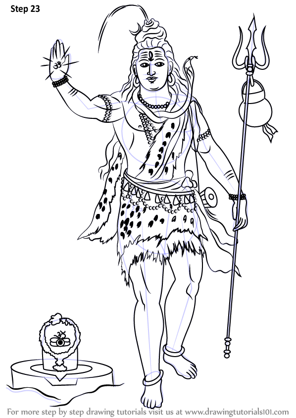 598x844 Learn How To Draw Lord Shiva Standing (Hinduism) Step By Step