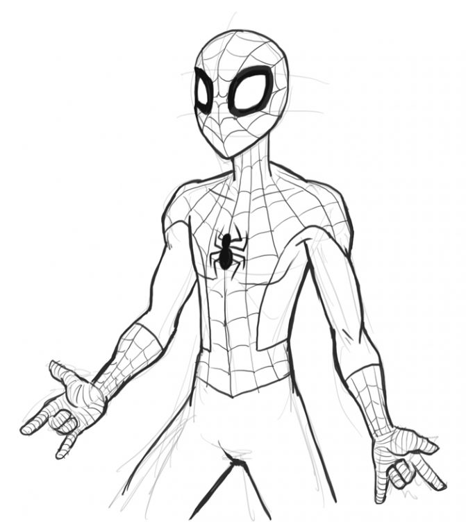 671x752 Coloring Pages Spiderman Drawing Easy Spiderman Drawing Easy