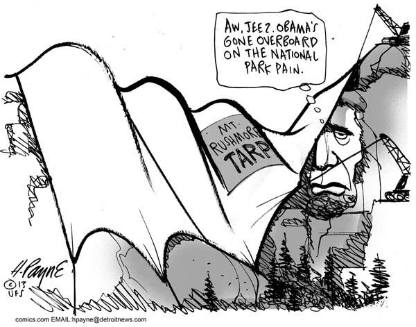 600x471 Henry Payne Cartoon Mt. Rushmore Shutdown