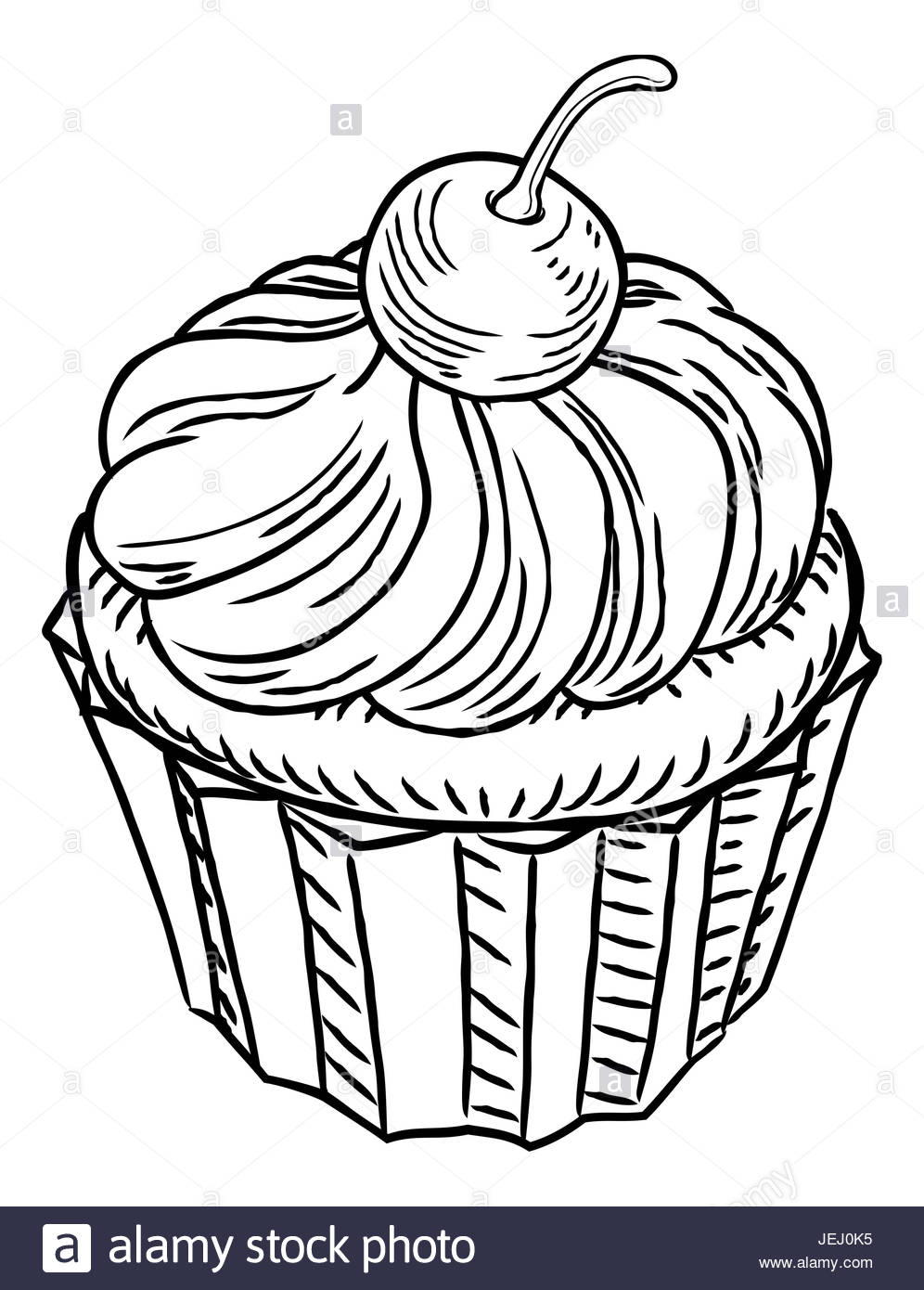 996x1390 A Muffin Cupcake Cake Hand Draw In A Retro Vintage Woodcut