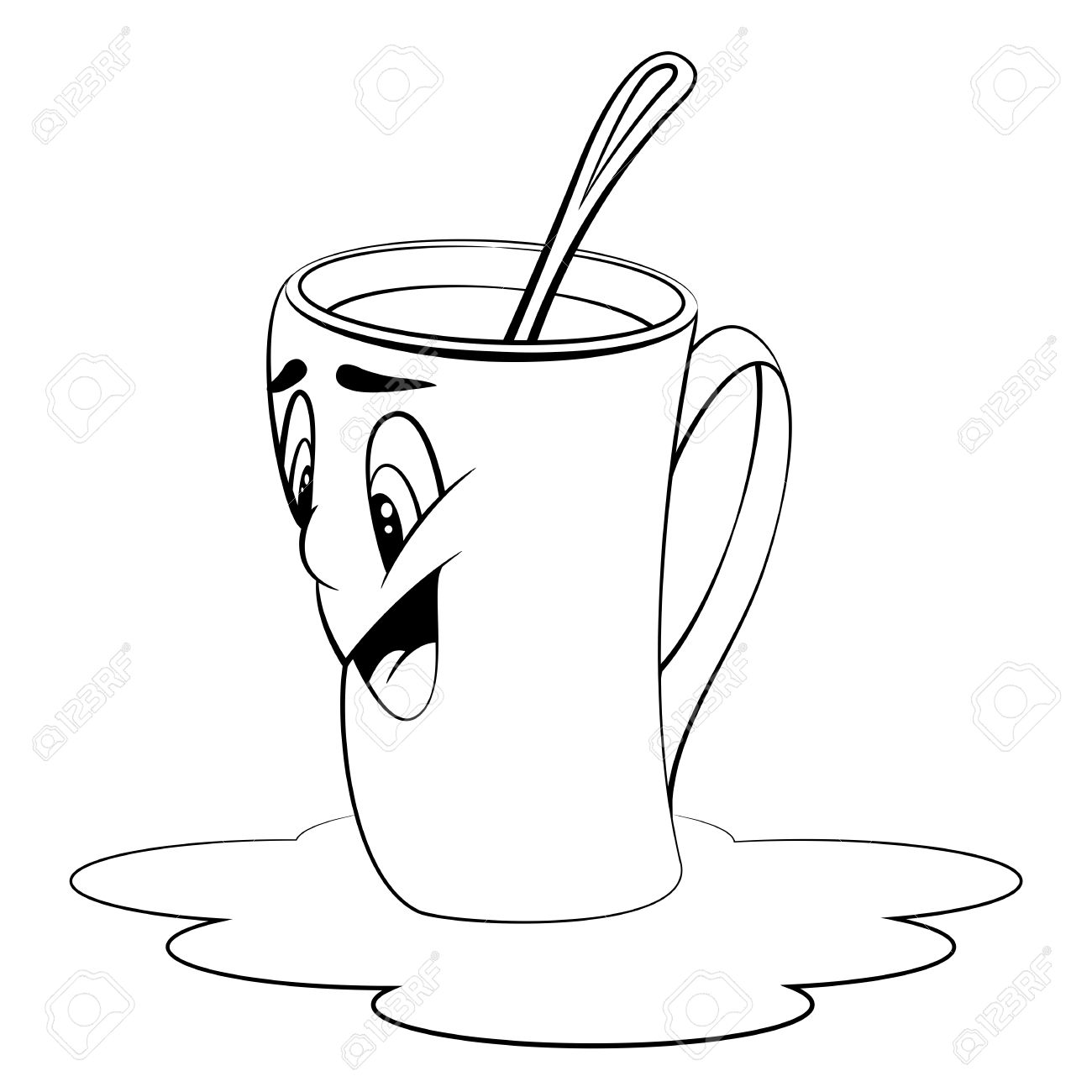 1300x1300 Cartoon Cup With Coffee. Mug With Surprised Facial Expression