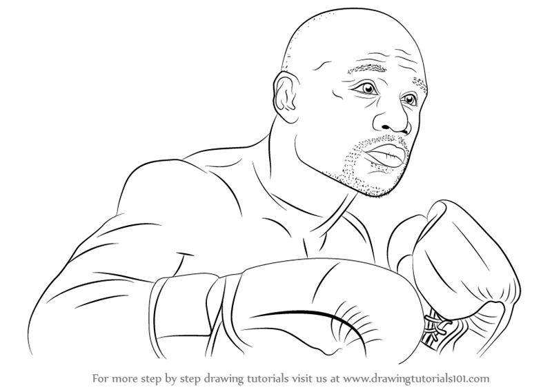 800x565 Learn How To Draw Floyd Mayweather (Boxers) Step By Step Drawing