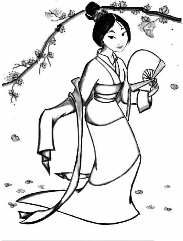 600x789 Fa Mulan In Her Classic Chinese Dress Coloring Page