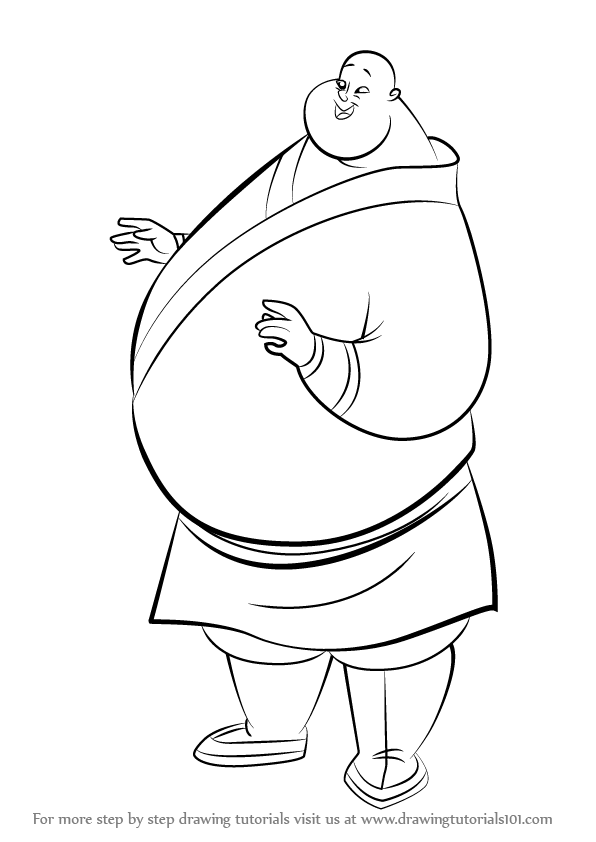 596x842 Learn How To Draw Chien Po From Mulan (Mulan) Step By Step