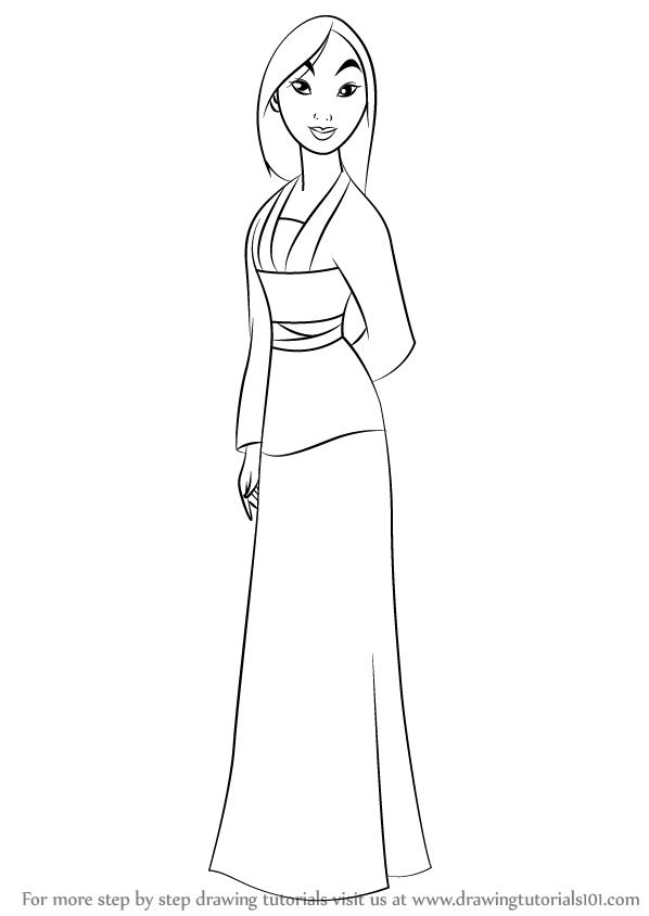 598x844 Learn How To Draw Fa Mulan From Mulan (Mulan) Step By Step