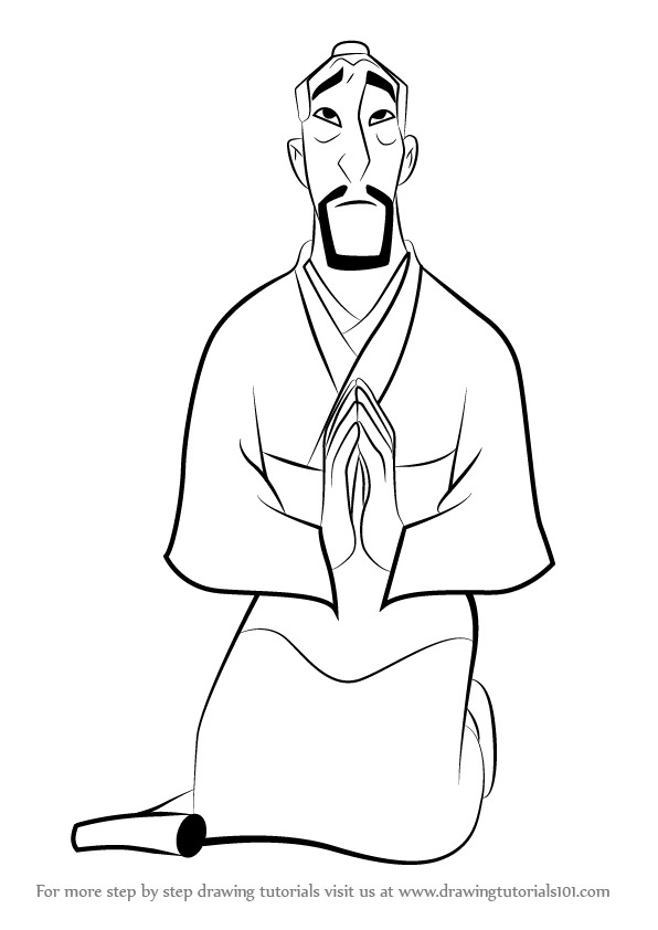 596x842 Learn How To Draw Fa Zhou From Mulan (Mulan) Step By Step