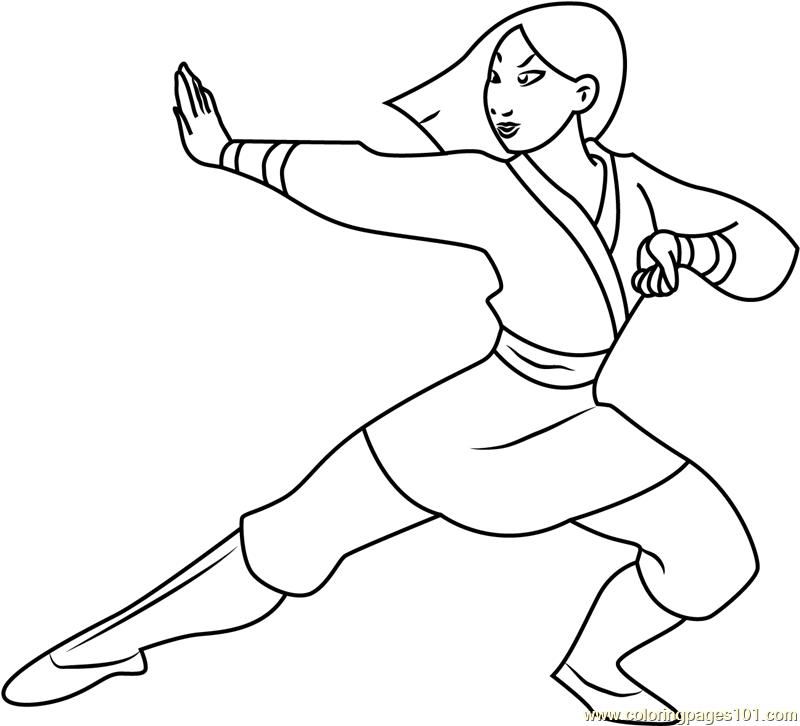 800x726 Mulan As Warrior Coloring Page