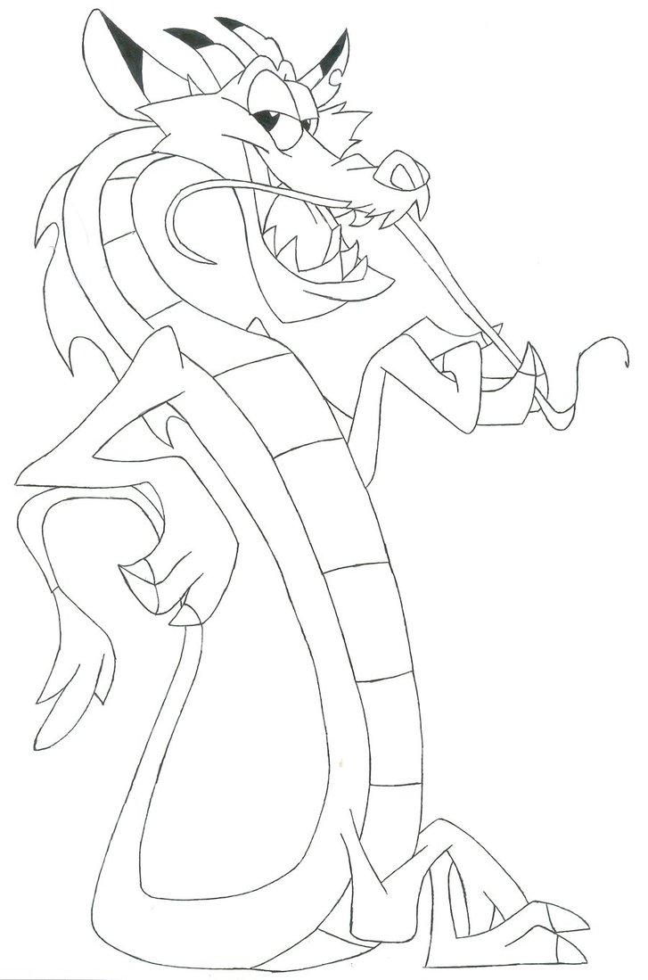 727x1099 Mushu (Disney's Mulan) (Line Art) By Raptoruos Knight