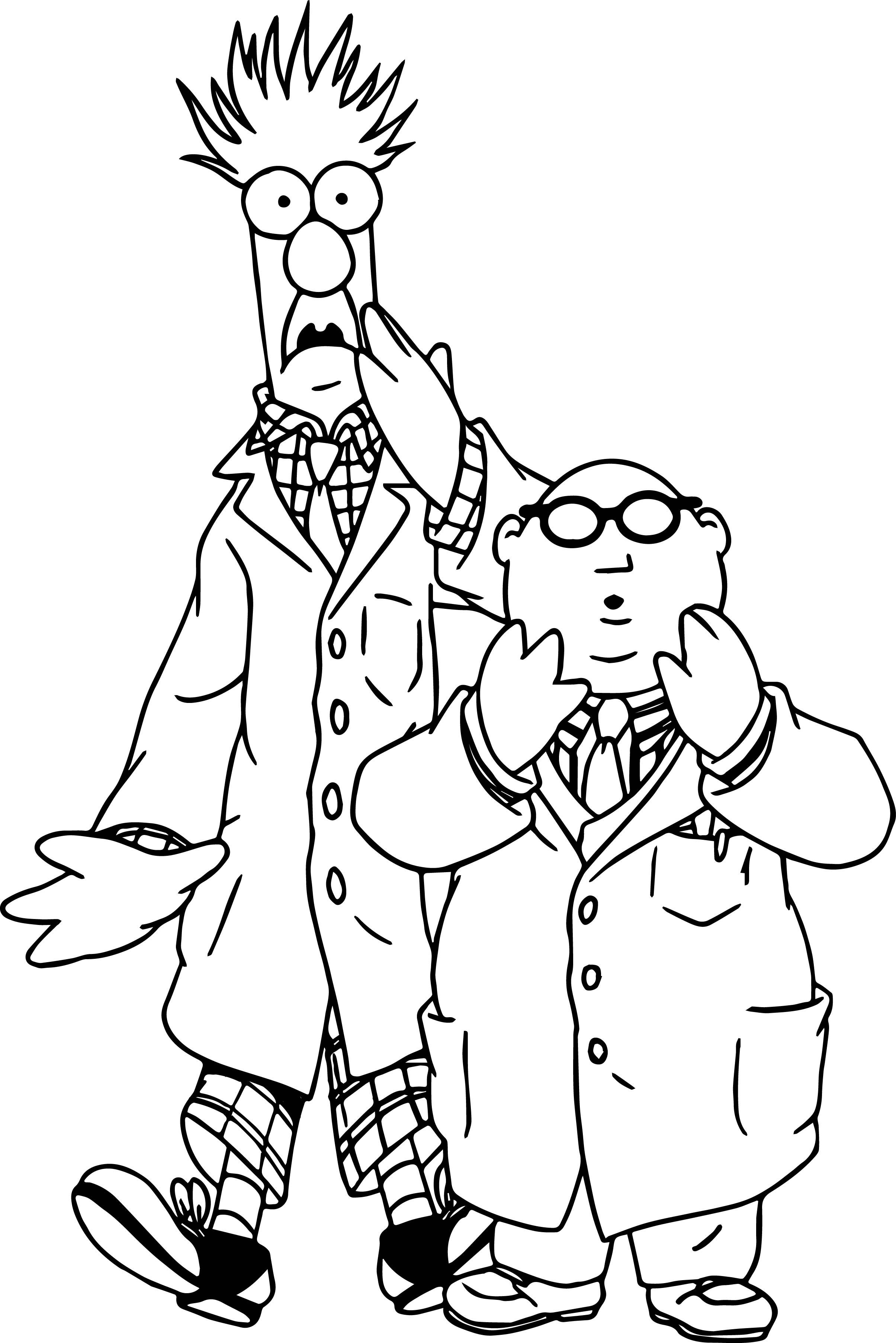 2409x3611 The Muppets Beaker Bunsen Honeydew Shocking Coloring Pages