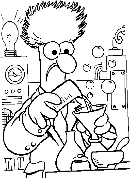 528x719 Bunsen B Coloring Book Drawing Muppets Chemical Page Beaker