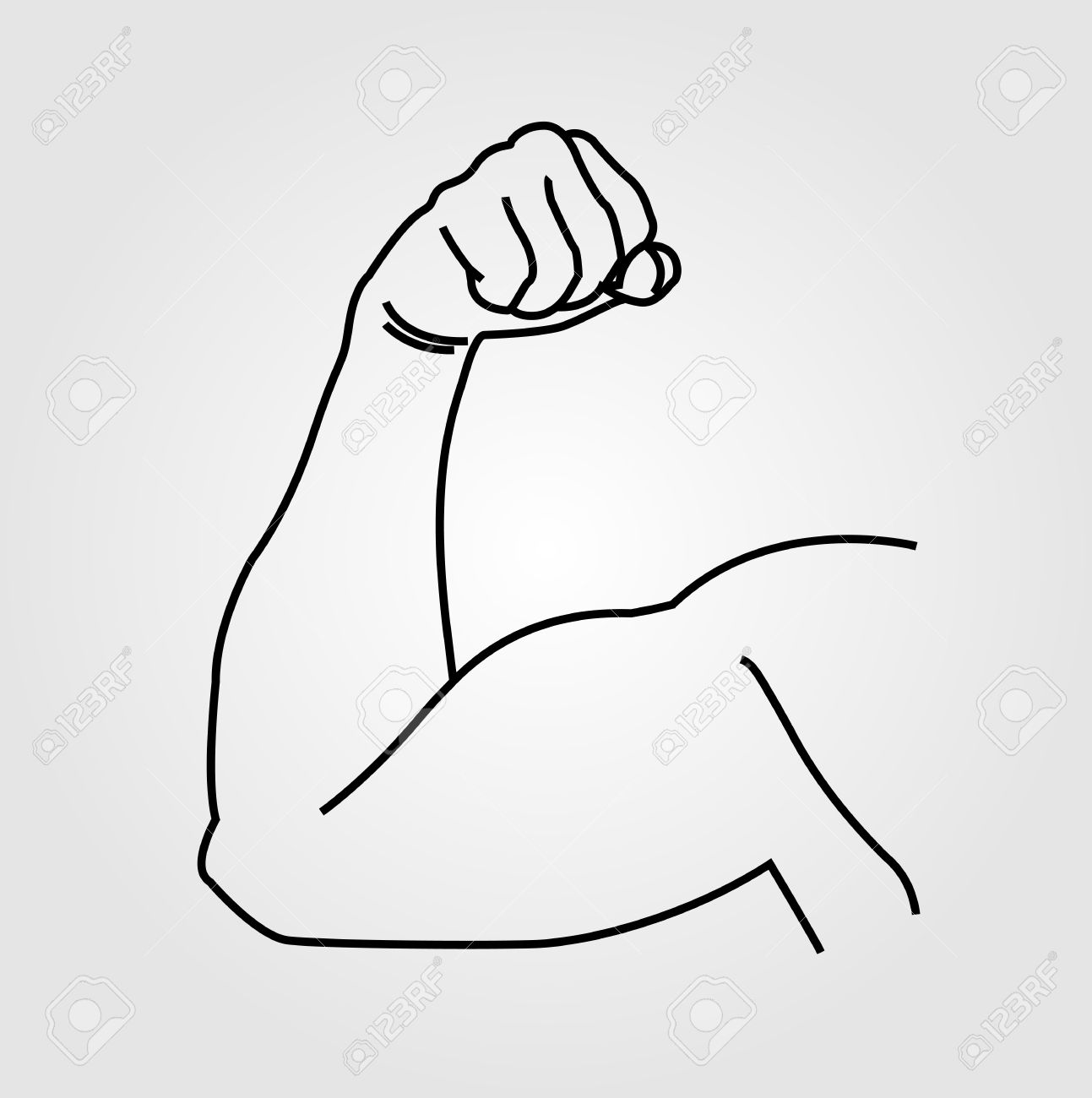 1293x1300 Abstract Drawing Of A Man's Arm Flex Royalty Free Cliparts