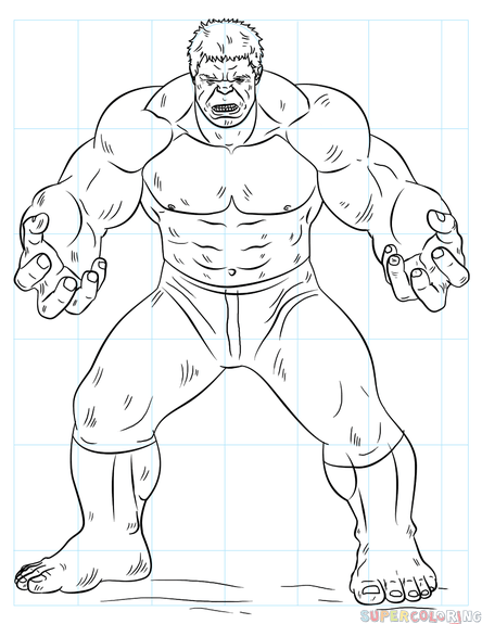 444x575 How To Draw Hulk Step By Step Drawing Tutorials