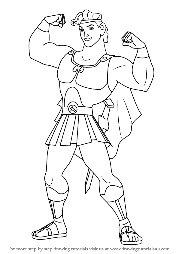 596x843 Learn How To Draw Hercules (Hercules) Step By Step Drawing Tutorials