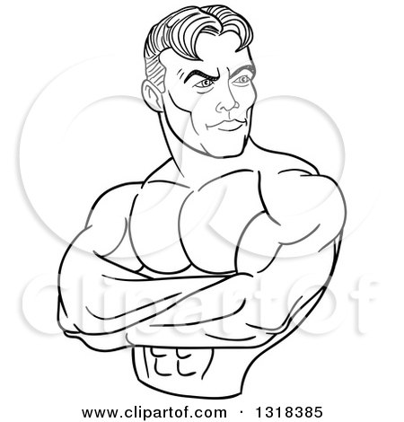 450x470 Lineart Clipart Of A Cartoon Black And White White Male