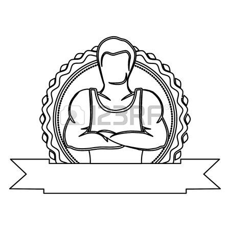 450x450 Silhouette Drawing Half Body Muscle Man Fitness Vector