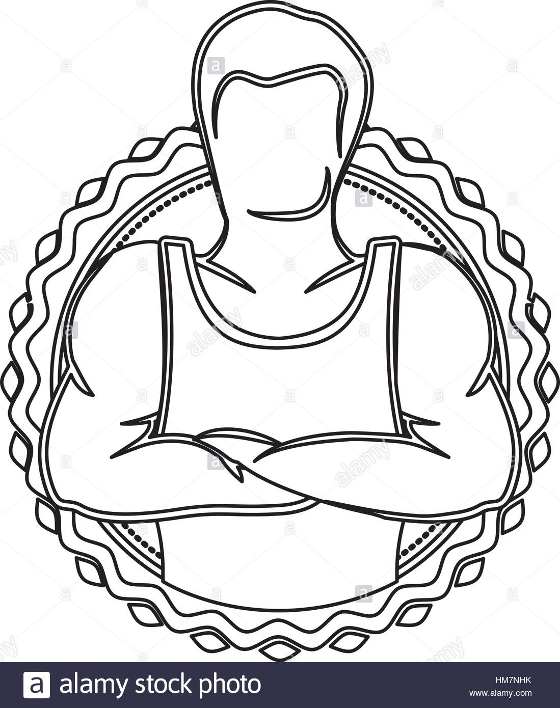 1099x1390 Contour Sticker Border With Muscle Man Crossed Arms Vector Stock