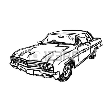 450x450 Illustration Doodle Hand Drawn Of Sketch Set Old Car Isolated