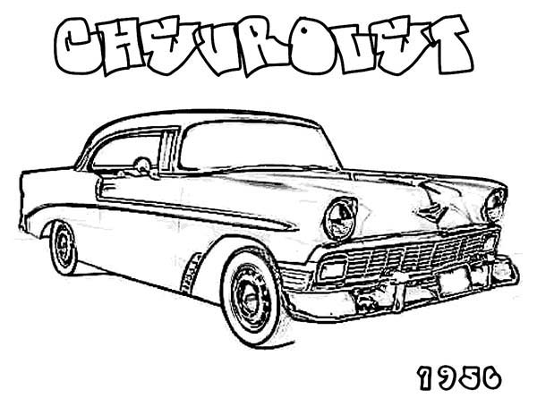 600x464 Muscle Car 1956 Chevrolet Old Car Coloring Page Coloring Sky